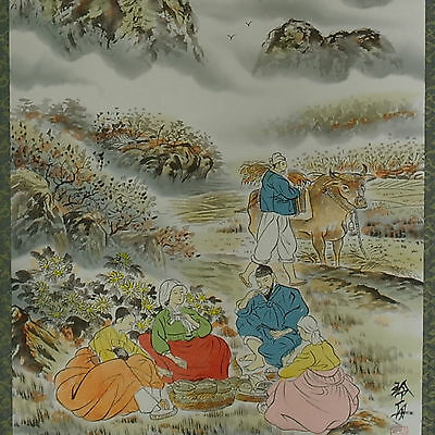 The old Korean farmer's snack scroll painting wall decor their happiest times