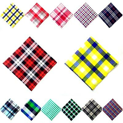 PLAIDS & CHECKERED - Men Women Unisex - Pocket Square Handkerchief - 100% Cotton