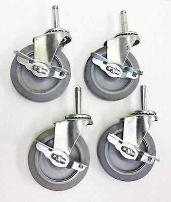 "Set of 4 grip ring 4"" stem casters with brakes"