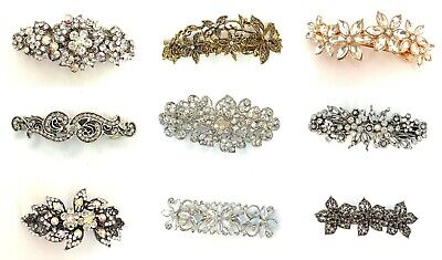 Barrettes Clips Diamante Crystal Barrette Hair Clip Vintage New