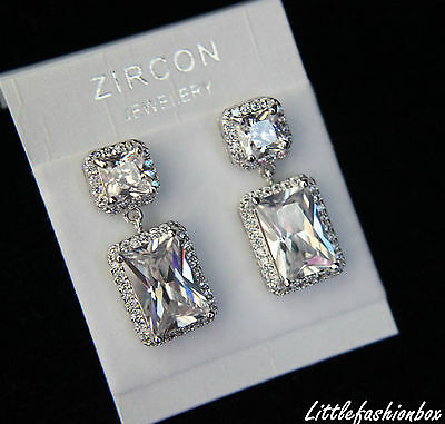 Superior Princess Cut Cubic Zirconia Crystal Cluster Wedding Party Earring UK