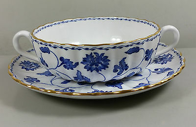 Spode Colonel (Blue) Y6235 Cream Soup Coupe / Cup And Saucer