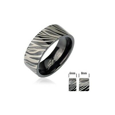 Women's Men's Stainless Steel Black Zebra Etched Print Band Ring Various Sizes