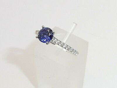 Ladies 925 Silver Sterling Tanzanite Solitaire with White Sapphire Accents Ring