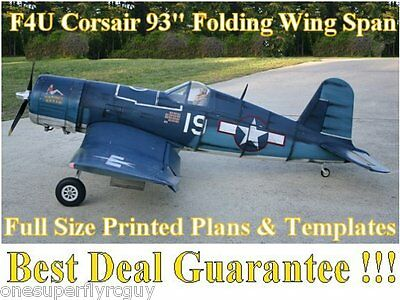 """F4U Corsair 93"""" WS Giant Scale RC Airplane Full Size PRINTED Plans & Templates"""