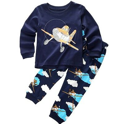 Kids Baby Girl Boys Planes T-shirt Top+Pant Pajamas Set Sleepwear Outfit Clothes