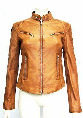 Pansy Tan Ladies Womens Designer Short Fitted Real Soft Sheep Leather Jacket