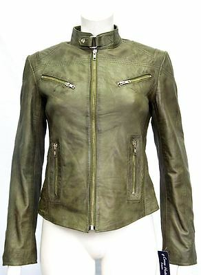 Pansy Olive Ladies Womens Designer Short Slimfit Real Soft Sheep Leather Jacket