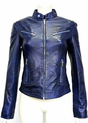 Pansy Blue Ladies Womens Designer Short Slimfit Real Soft Sheep Leather Jacket