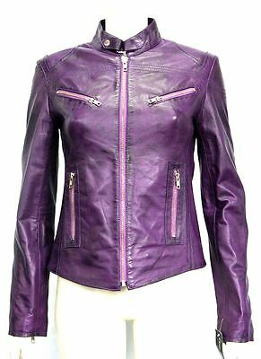 Pansy Purple Ladies Womens Designer Short Slimfit Real Soft Sheep Leather Jacket