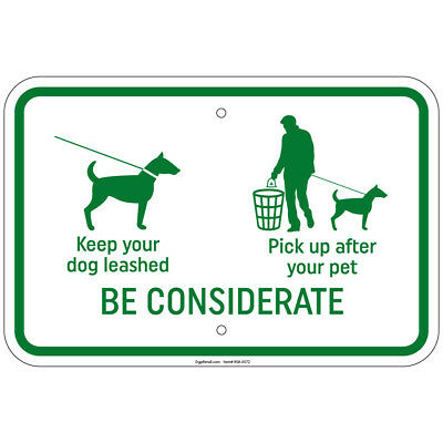 Pet Exercise Area Control /& Clean Up After Your Pet Sign 12x18 Aluminum Signs