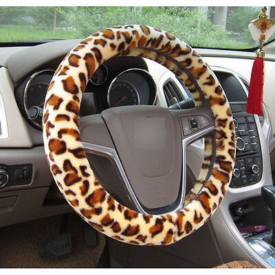 Leopard Fluffy Car Steering Wheel Cover Protector Vehicle Styling Accessory