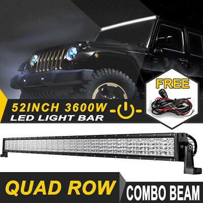 50inch 672W OSRAM Curved LED Light Bar 5D Flood Spot Offroad UTE 4x4WD Truck 52""