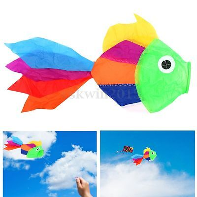 1PC Rainbow Colored Fish Windsock Kite Outdoor Flag Pole Garden Tent Kids Favor