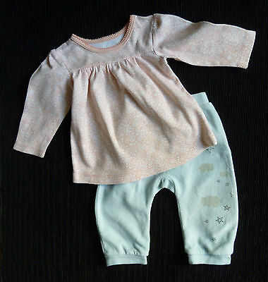 Baby clothes GIRL 6-9m Vertbaudet aqua trousers/dress-style top 2nd item postfre
