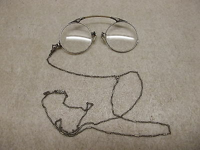 Vintage Pince Nez Spectacles Reading Eye Glasses W/ Necklace 12K Gold Filled