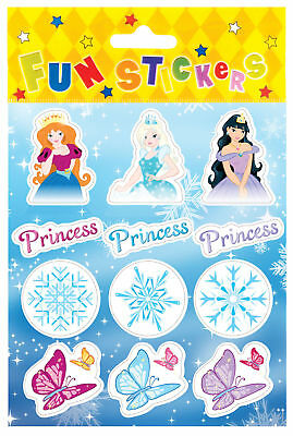 6 Ice Princess Sticker Sheets - Frozen Pinata Toy Loot/Party Bag Fillers Kids