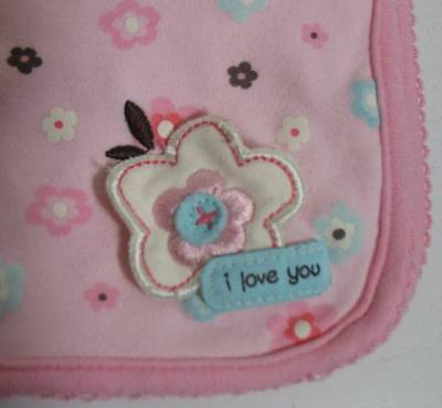 """Carter's Just one Year !00% Cotton Baby Blanket Pink & Teal Flowers """"I LOVE YOU"""""""
