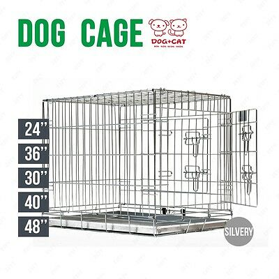 5 Sizes Folding Dog Cage Puppy Crate Silver Metal Training Pet Carrier Playpen