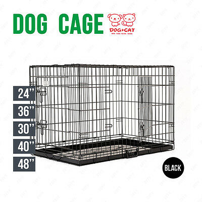 BN Folding Dog Cage Puppy Crate Black Metal Training Pet Carrier Playpen 5 Sizes