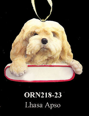 """Lhasa Apso Christmas Ornament """"Santa's Pals"""" Personalized Name Plate #23"""