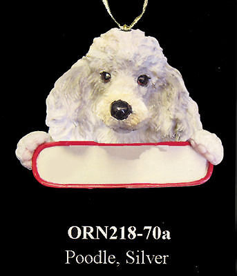 "POODLE Christmas Ornament ""Santa's Pals"" with Personalized Name Plate #70a"