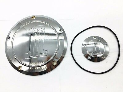 Silver Skull Derby Timing Timer Cover For XL Sportster 883 1200