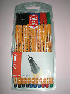 10 Stabilo point88 Fineliner schwarz blau grün rot Filzstift Office-Etui 87-1468