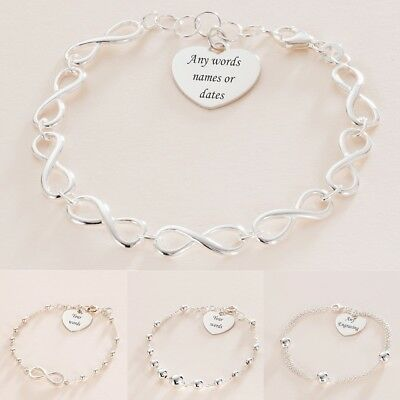 Sterling Silver Bracelets with ANY Engraving. Personalised Jewellery for Women.