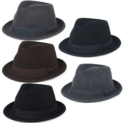 Elegant 100% Wool Trilby Hat Waterproof & Crushable, Handmade in Italy