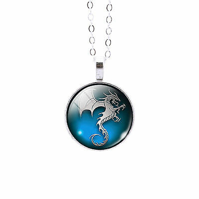 Steel Dragon Glass Dome Pendant Necklace