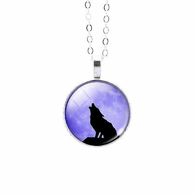 Howling Wolf Glass Dome Pendant Necklace - Animal Totem
