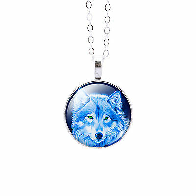 Blue Wolf Glass Dome Pendant Necklace - Animal Totem