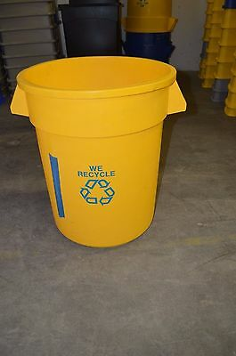 Rubbermaid Round Trash or Recycling Container Yellow 20 gal