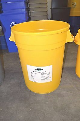 Rubbermaid Round Trash or Recycling Container Yellow / Blue / Red 32 gal