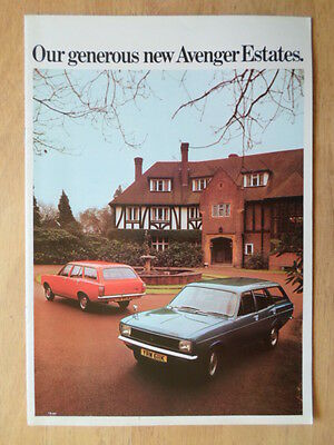 HILLMAN AVENGER ESTATES orig 1972 UK Mkt Sales Brochure