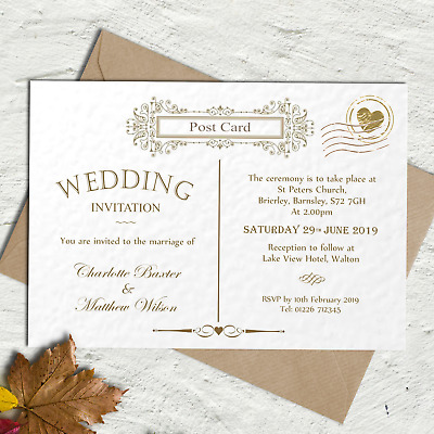 Personalised wedding / evening invitations & envelopes, Vintage Post Card