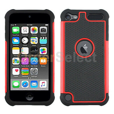 NEW Hybrid Rugged Rubber Hard Case Skin for Apple iPod Touch 6 6th Red HOT!