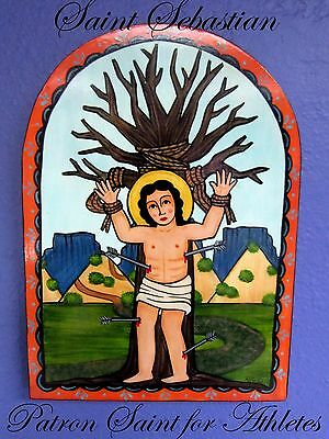 New Mexico Hand Painted ST.SEBASTIAN RETABLO by NM Artist ANDREA FRESQUEZ-BAROS