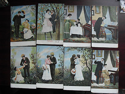 Lot of 8 Vintage Early 1900s Postcards Man and Woman Romance Cards LOOK