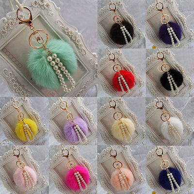 Cute Faux Rabbit Fur Ball PomPom Pearl Pendant Car Keychain Handbag Key Ring