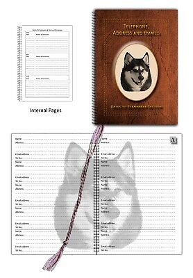 Siberian Husky Telephone, Address Book & Dates section, choice of 3 colours Gift