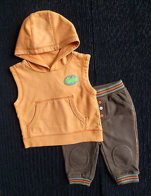 Baby clothes BOY 3-6m orange George crocodile sleeveless top hood/trousers brown