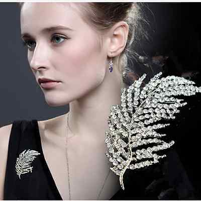 Bridal Bouquet Rhinestone Crystal Brooch Pin Silver Feather Brooches Women Gift