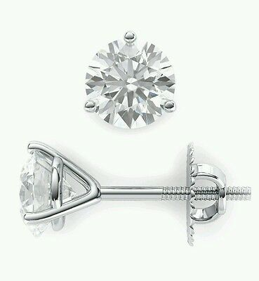.50Ct. Stud Martiny Earrings Round Cut 14K White Gold With Screw Back New.