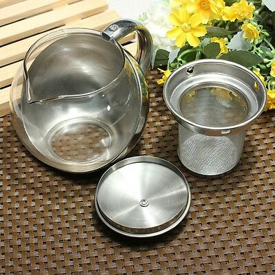 750ml Glass Stainless Steel Loose Tea Maker Leaf Teapot With Infuser