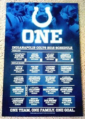 Indianapolis Colts 2015 Schedule Poster - Mint!