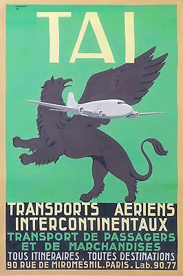 VERY RARE and UNIQUE OLD PASTE UP GOUACHE PAINTING for TAI AIR LINES POSTER 1947