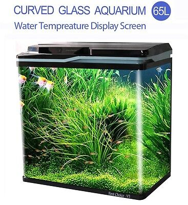 New 65L Aquarium Fish Tank Curved Glass Complete Set Filter Pump LED Light Black