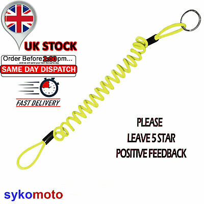 Disclock Reminder Cable Disk Steel Stretch Hi Viz Quality Yellow Loops Handlebar